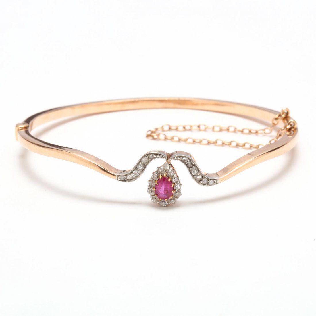 Antique 14KT Pink Sapphire and Diamond Bracelet