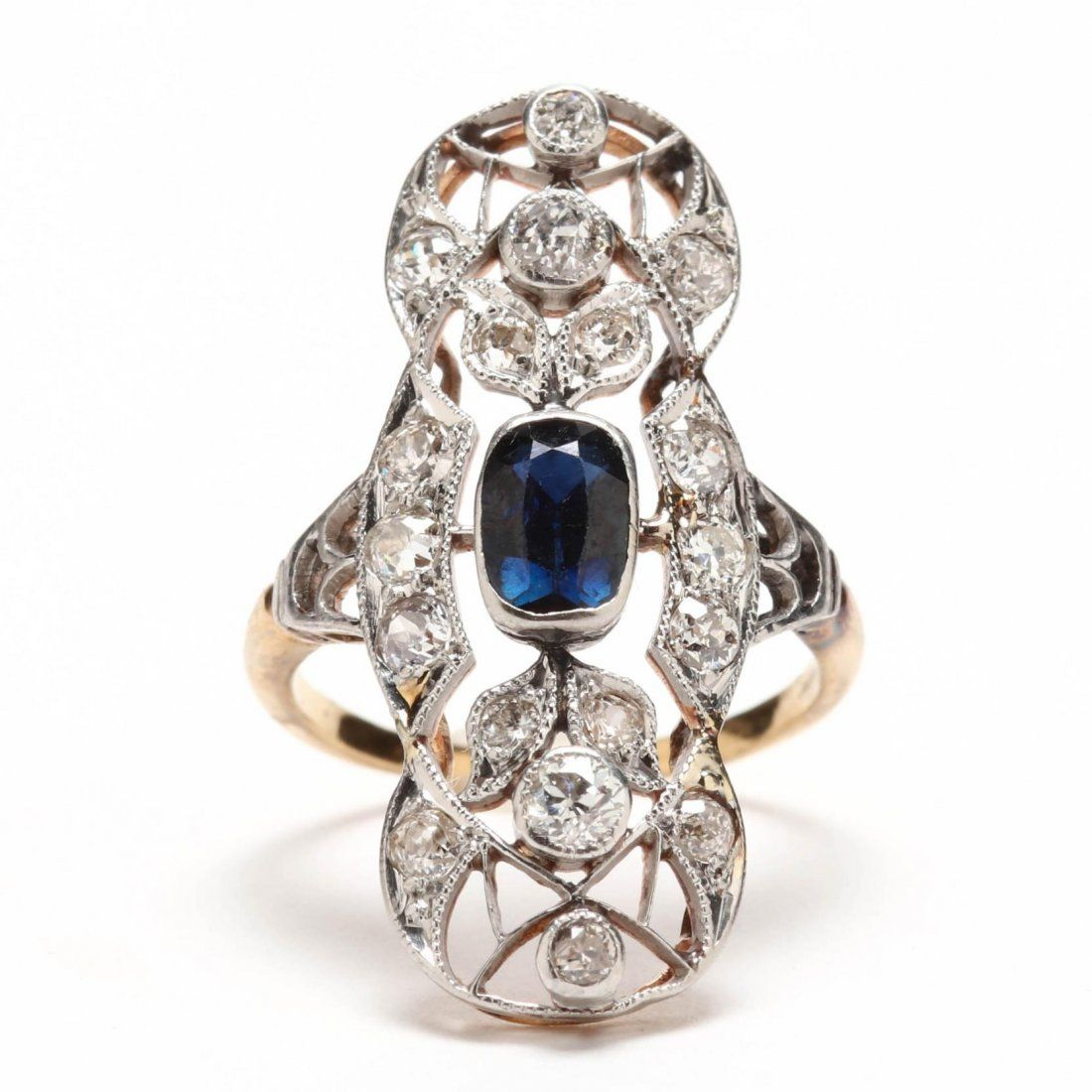 Platinum Topped Gold, Sapphire, and Diamond Ring