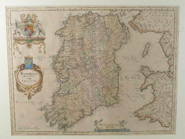 "2: Willem Blaeu Map, ""Hiberina Regnum Vulgo Ireland"","