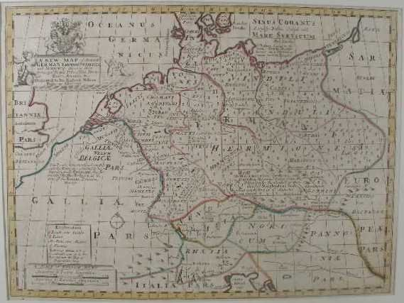 """3: Edward Wells Map, """"A New Map of Ancient Germany, Rha"""