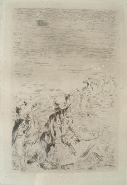 """15: Pierre-August Renoir Etching, """"Sur La Plage"""","""