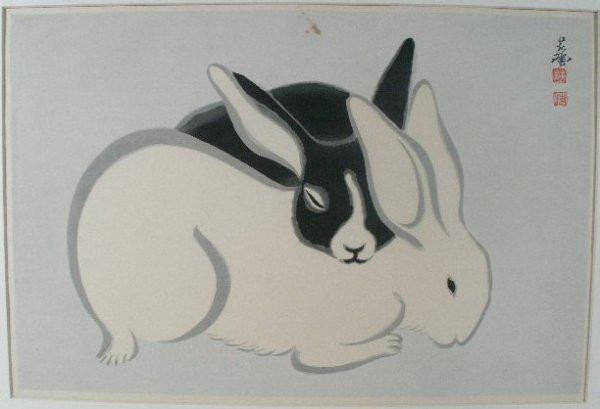 "17: Tekiho Imoto (Japanese, born 1909), ""Rabbits"","