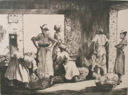 "117: Alfred Hutty (SC, 1877-1954), ""Charleston Market,"""