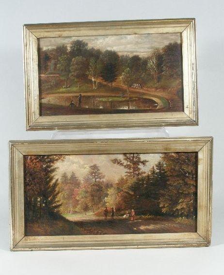 166: American School, 19th c., Pair of Naïve Landscapes