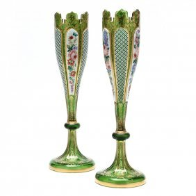 Pair of Bohemian White Cut to Green Enameled Vases