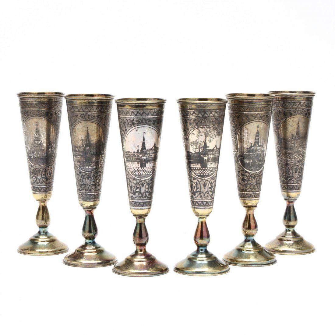 Set of Six Russian Silver Gilt & Niello Champagne