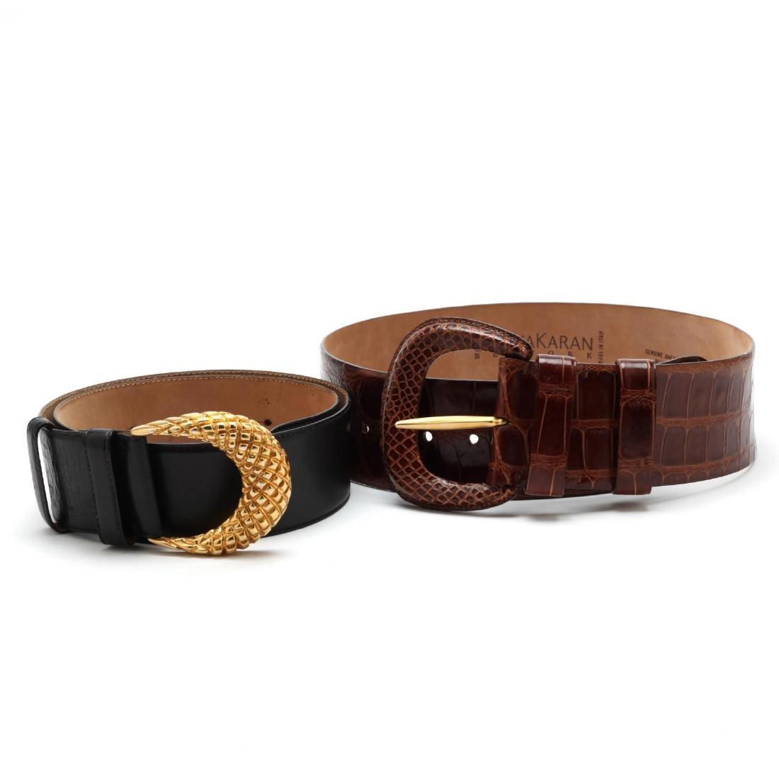 Two Donna Karan New York Leather Belts
