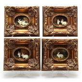 Group of Four Decorative Paintings of Bunnies