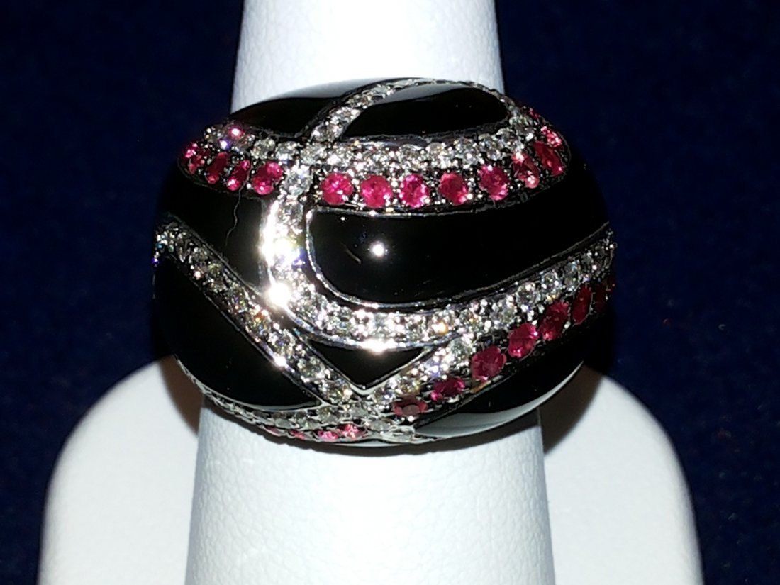 ONYX RUBY AND DIAMOND RING