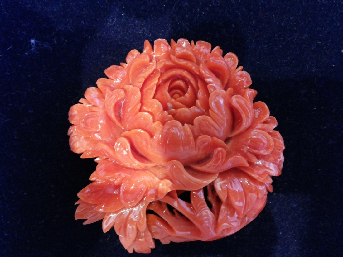 CARVED CORAL BROOCHE