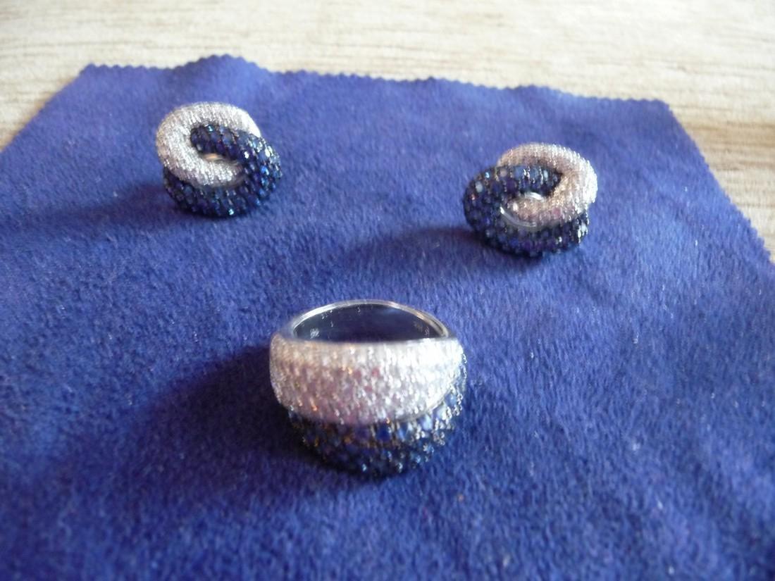 5 CARAT DIAMOND SAPPHIRE 18K DOMED RING,EARRINGS SET