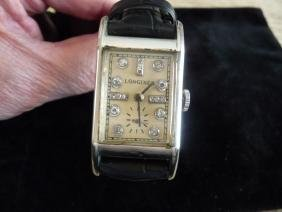 MAN'S LONGINES DIAMOND 14K WHITE GOLD WATCH FROM 1940'S