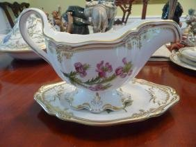 SPODE STAFFORD FLOWERS GRAVY BOWL WITH DISH