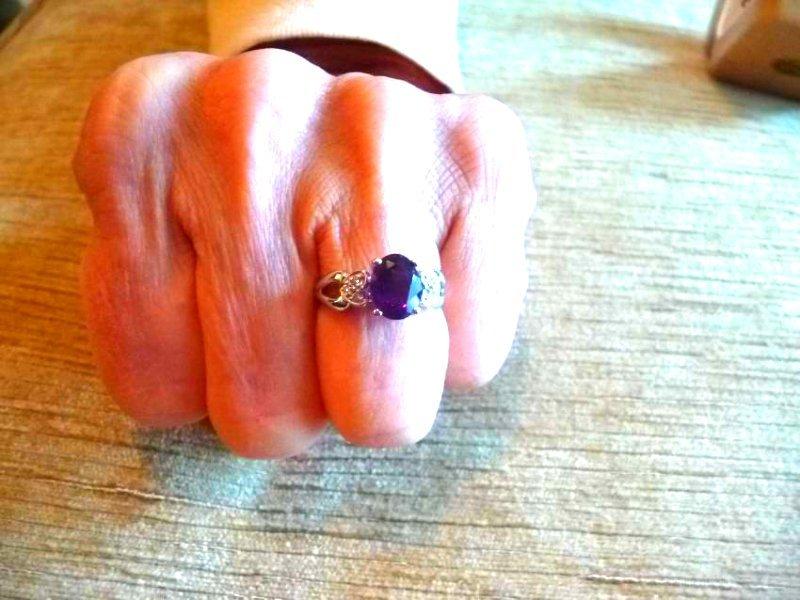 14K DIAMOND AMETHYST RING - 2