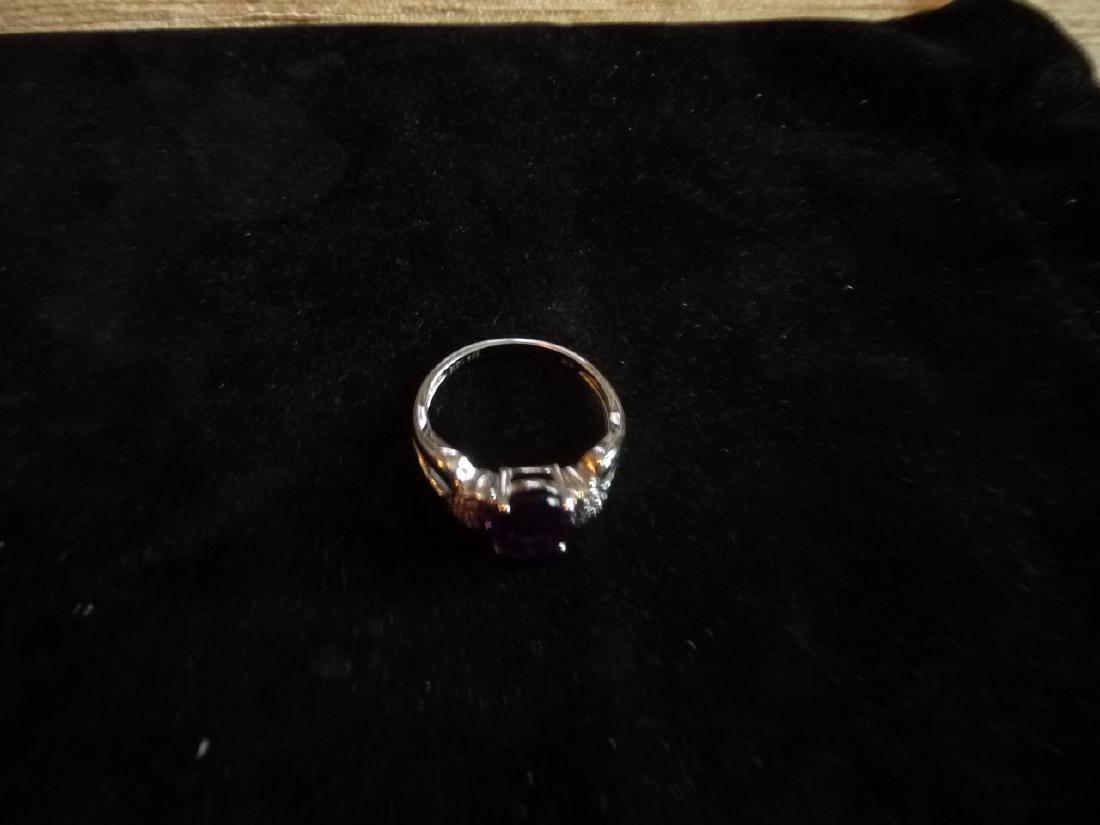 14K DIAMOND AMETHYST RING - 3