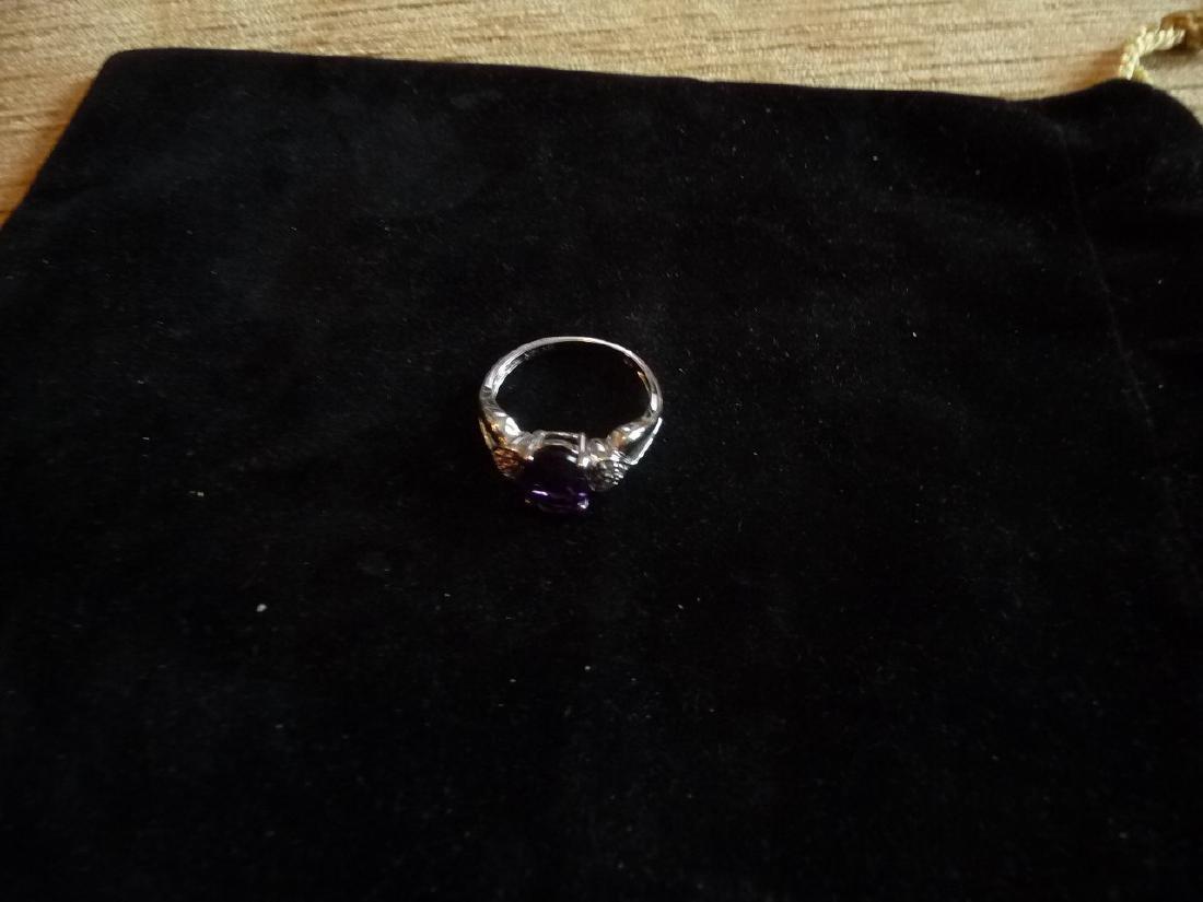 14K DIAMOND AMETHYST RING - 4