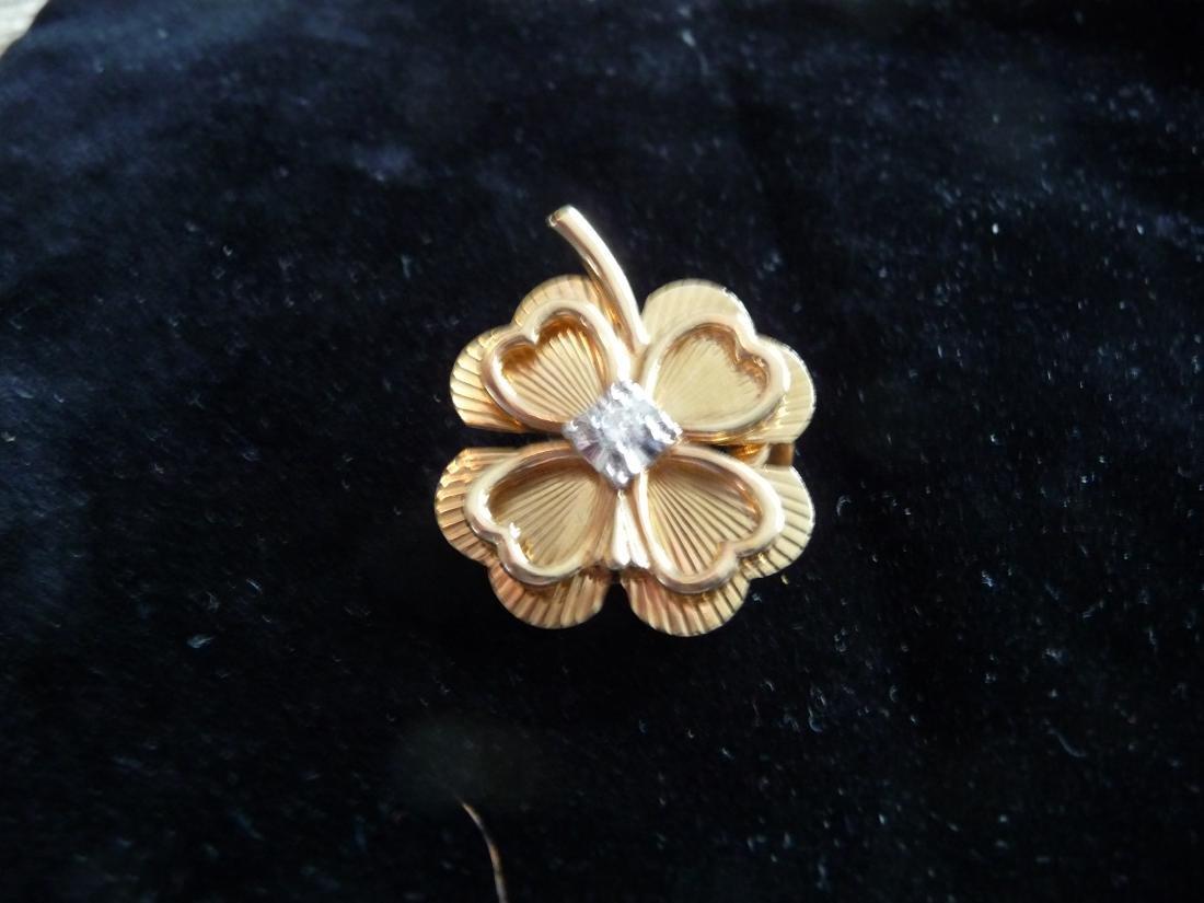 4 LEAF CLOVER 14K DIAMOND PIN/PENDANT/BROOCH - 2