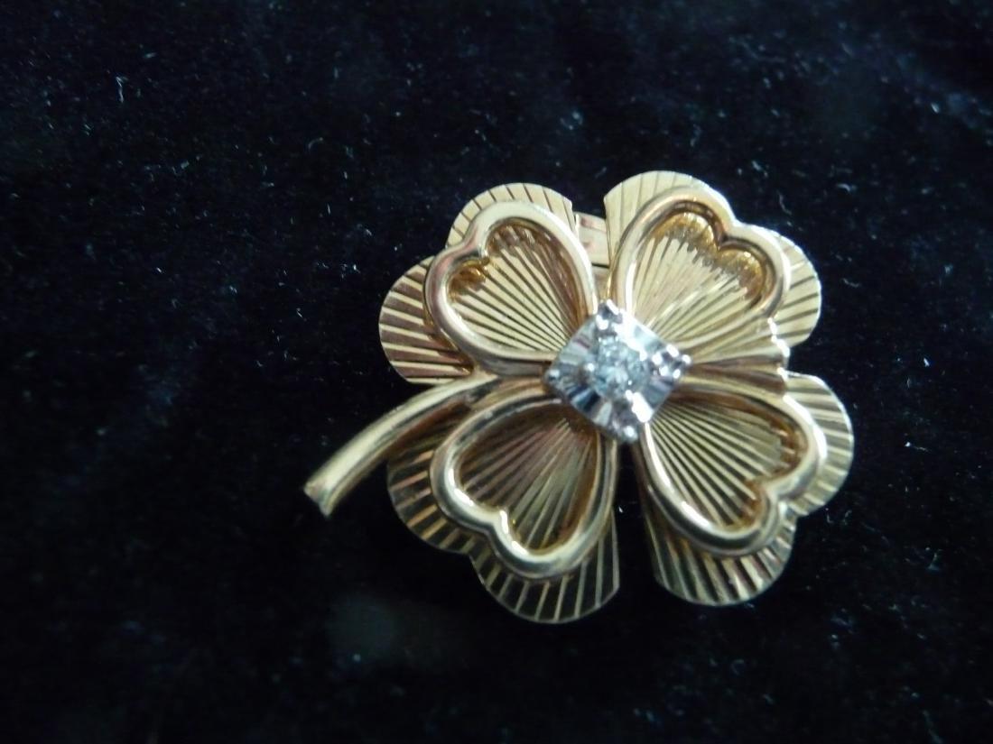 4 LEAF CLOVER 14K DIAMOND PIN/PENDANT/BROOCH - 5