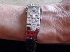 OMEGA 14K DIAMOND BRACELET WATCH W/ FLIP UP PEEK-A-BOO