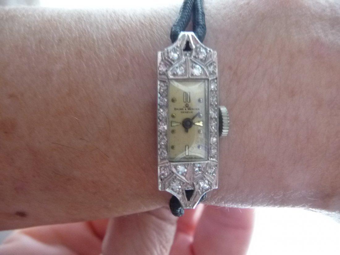 BAUME & MERCIER DIAMOND ENCRUSTED PLATINUM WATCH /BOX