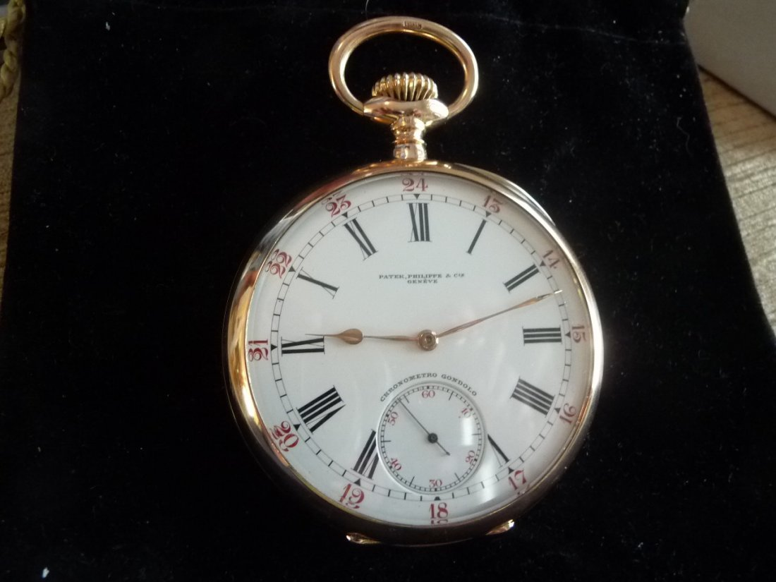 PATEK PHILIPPE 18K GONDOLO POCKET WATCH W/ 24 HR DIAL