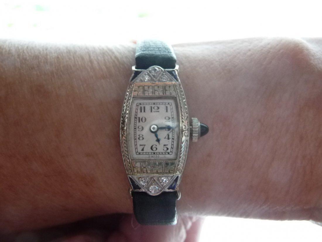 1930'S SOLID 18K  DIAMOND AND SAPPHIRE SWISS WATCH