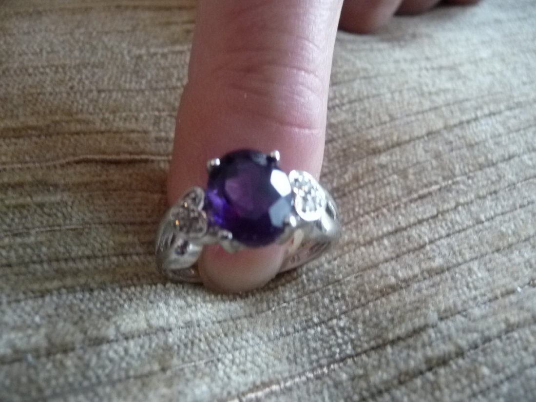 SOLID 14K DIAMOND AMATHYST RING