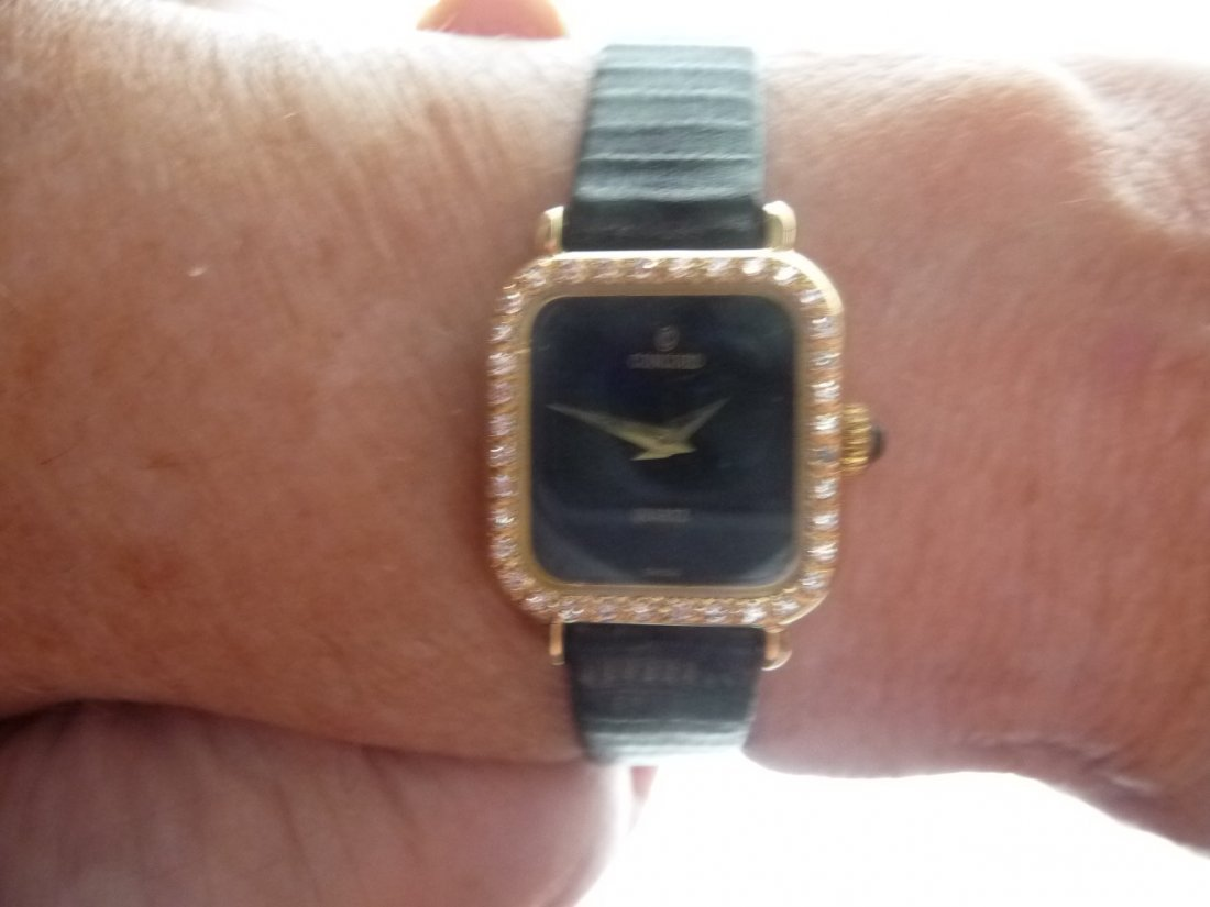 CONCORD DIAMOND ENCRUSTED 14K GOLD QUARTZ WATCH