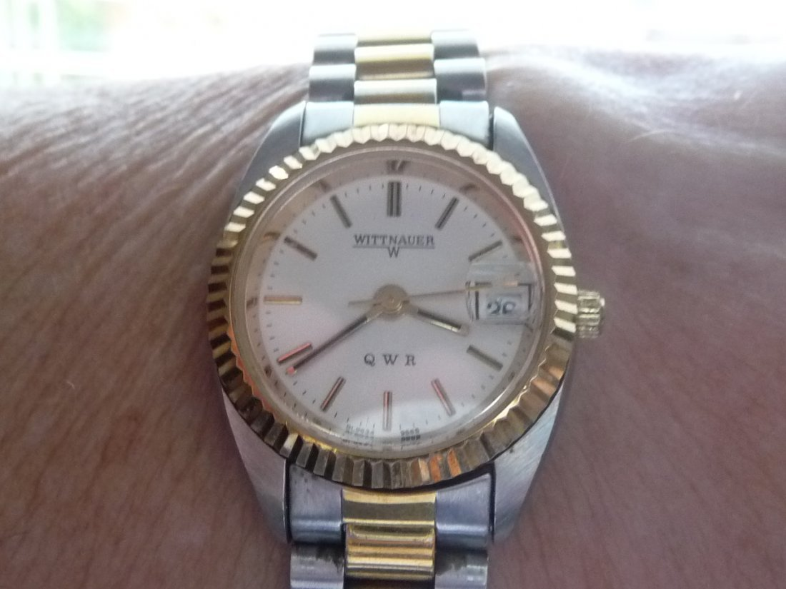WITTNAUER 14K GOLD AND STAINLESS STEEL BRACELET WATCH