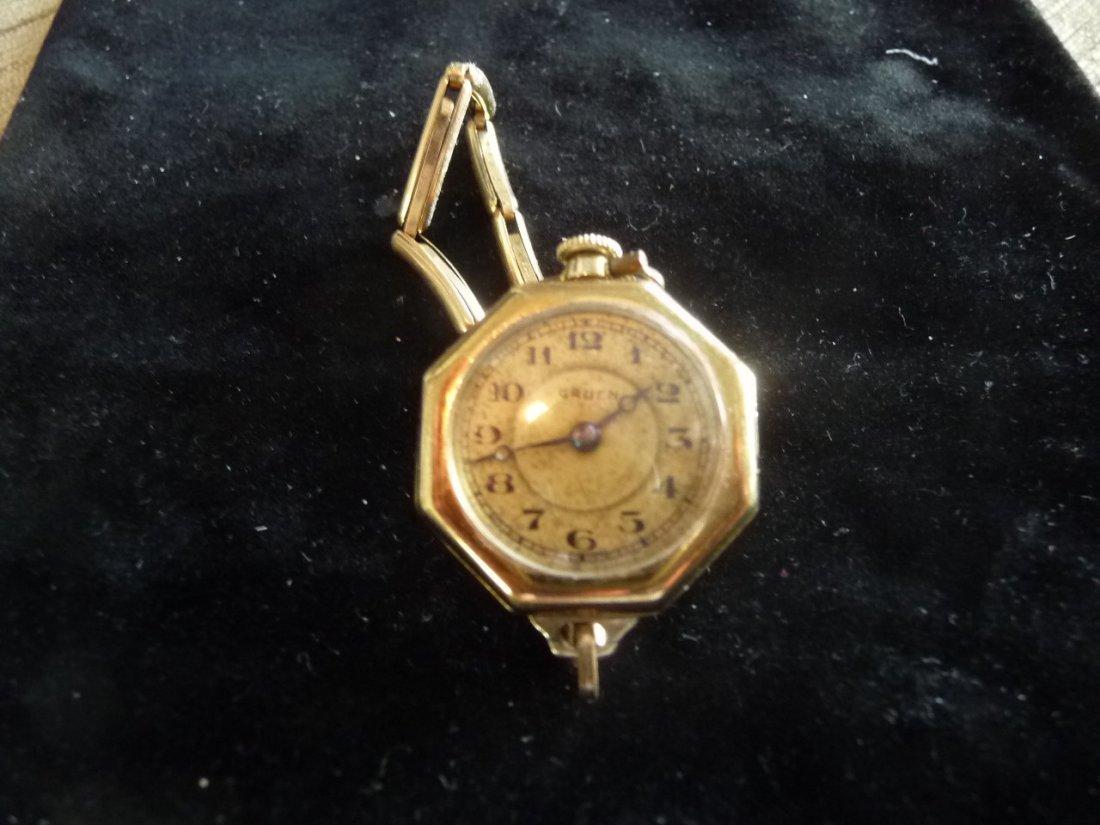 GRUEN 14K GOLD POCKET/PENDANT/WRIST WATCH