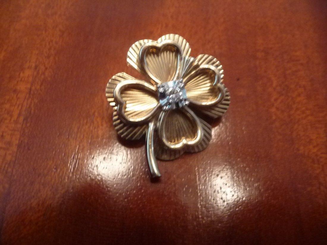 SOLID 14K DIAMOND 4-LEAF CLOVER PIN /BROOCH /PENDANT