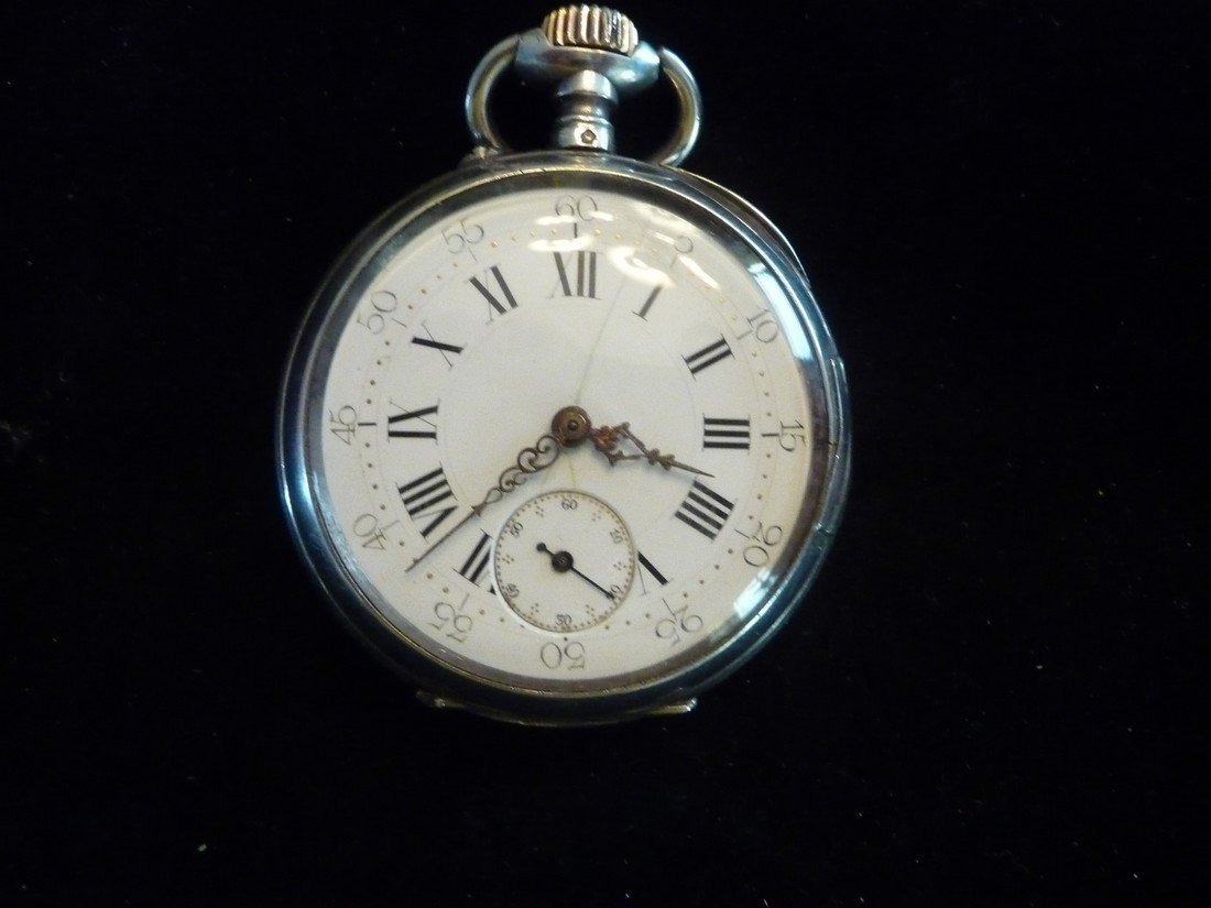 LECOULTRE HAND ENGRAVED ANTIQUE SILVER POCKET WATCH