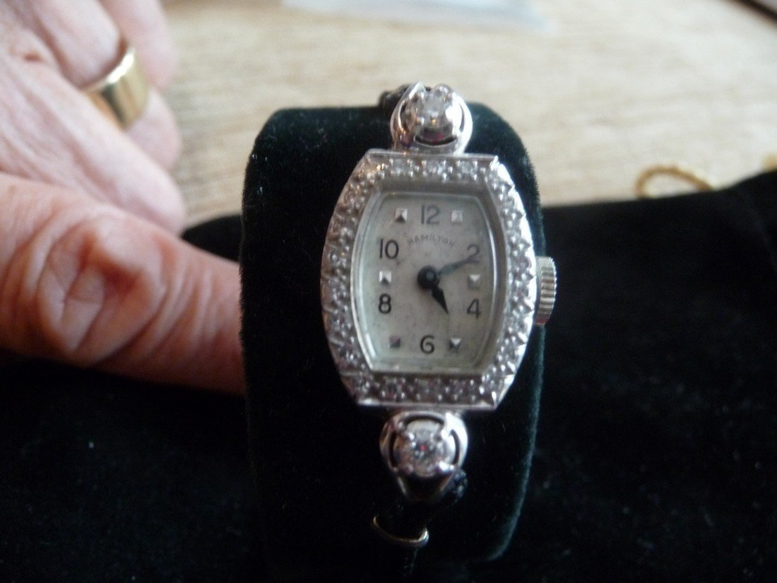 HAMILTON .65 CARAT DIAMOND PLATINUM WATCH-LADIES
