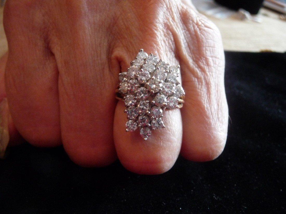 1.3 CARAT DIAMOND 14K CLUSTER COCKTAIL RING