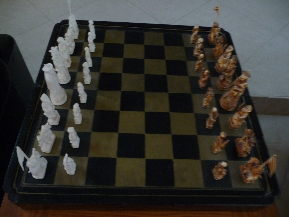 ANTIQUE CHINESE IVORY HANDCARVED CHESS SET