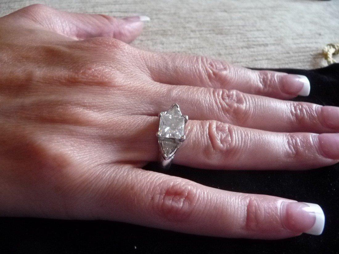GIA CERTIFIED 2.19 CARAT DIAMOND PLAT. ENGAGEMENT RING