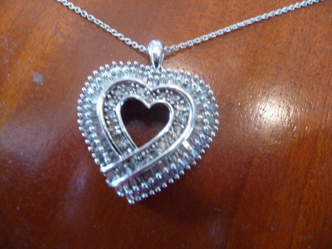 3 CARAT DIAMONDS ,14K HEART PENDANT NECKLACE