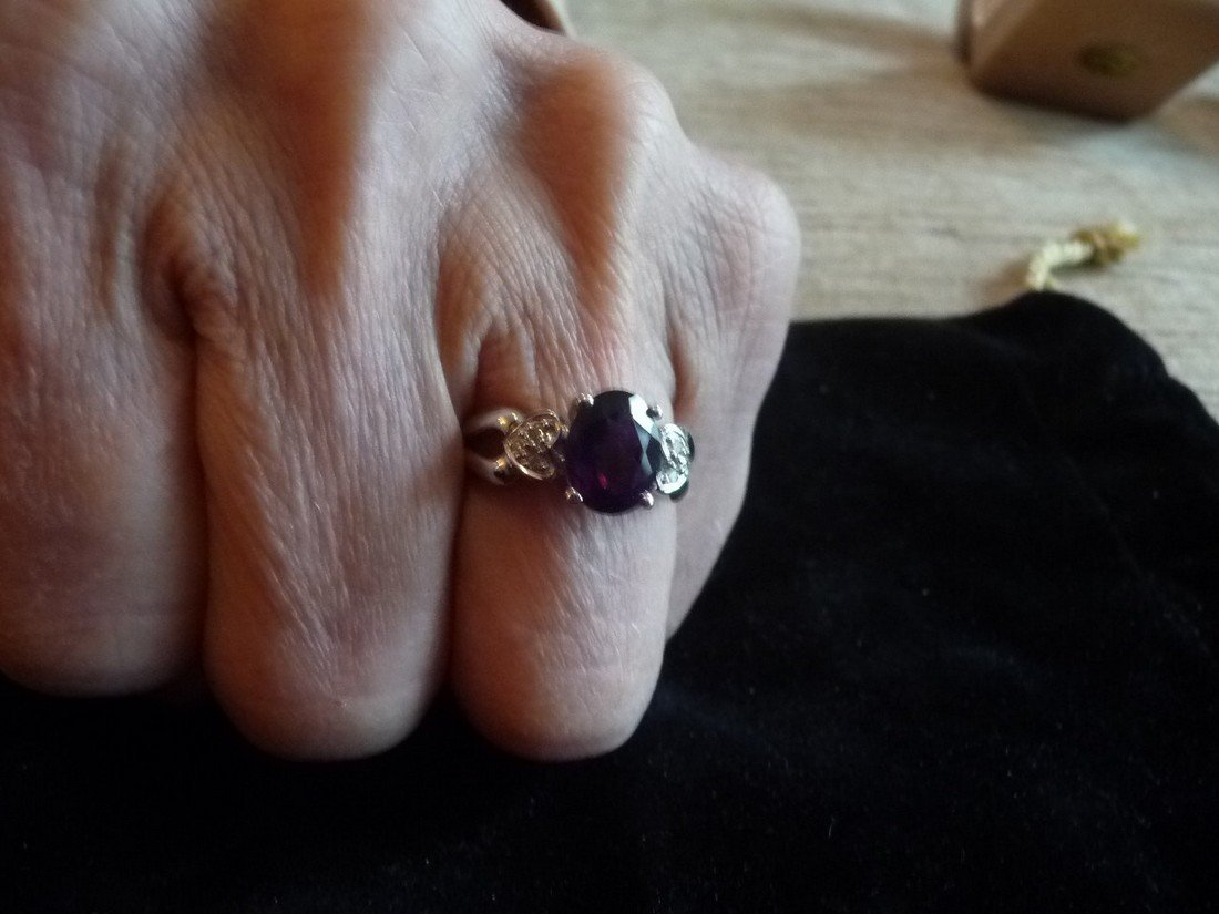 14K DIAMOND AMETHYST RING