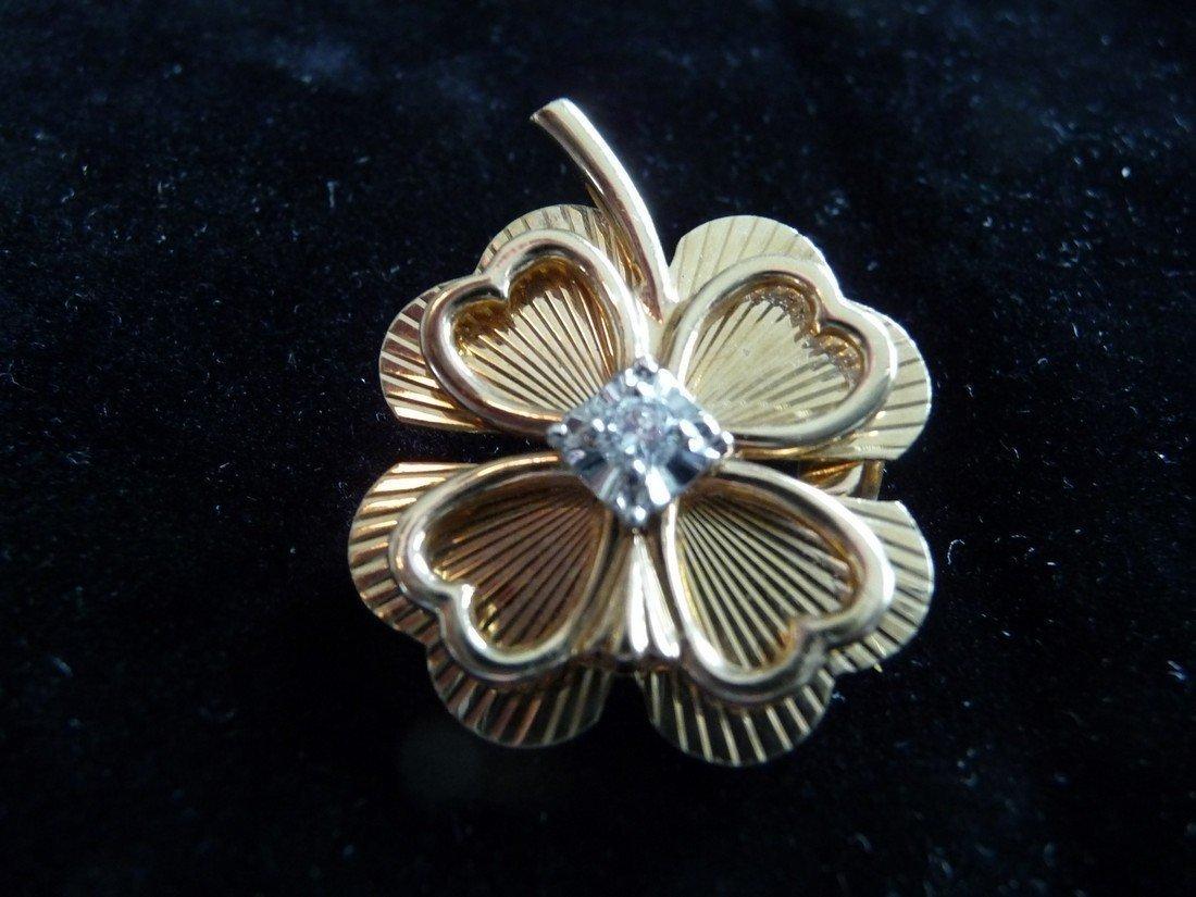 4 LEAF CLOVER 14K DIAMOND PIN/PENDANT/BROOCH