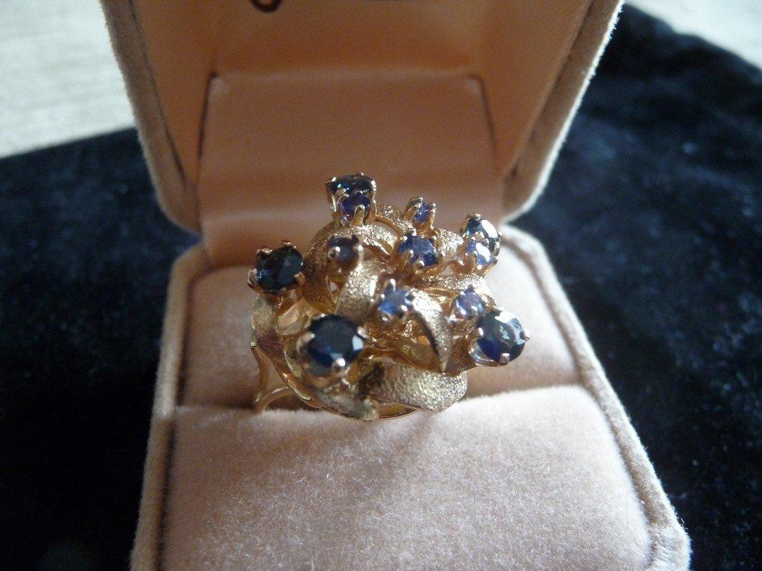 BLUE SAPPHIRES 14K COCKTAIL RING