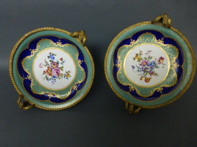 PAIR OF SEVRES TAZZAS