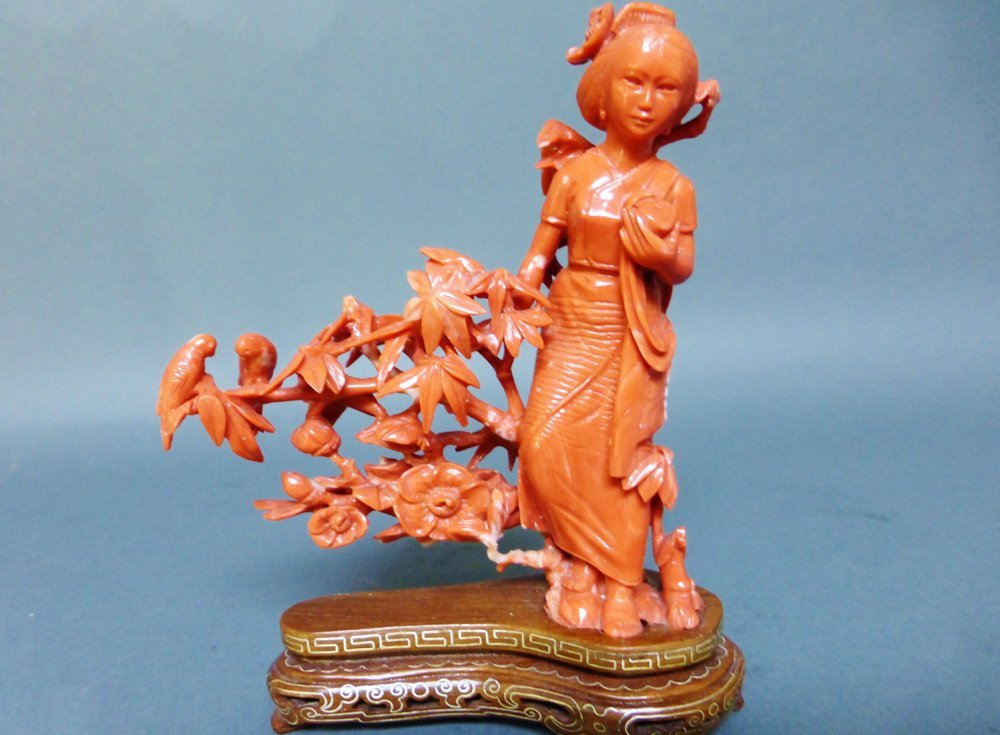 CHINESE RED CARVED CORAL GROUP