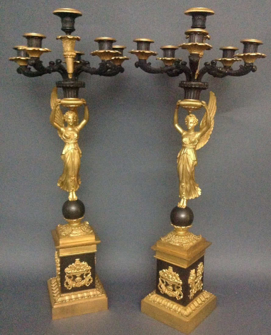 PAIR OF EMPIRE STYLE GILT AND  BRONZE CANDELABRAS