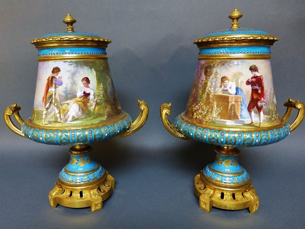 : PAIR OF JEWELLED SEVRES STYLE VASES AND COVERS