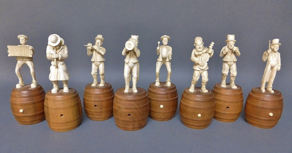 SET OF 8 GERMAN IVORY & WOOD MUSICIANS WITH WOOD BASE