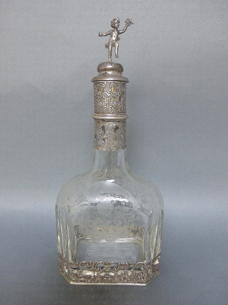 19TH CENTURY GERMAN 800 SILVER ETCHED GLASS BOTTLES