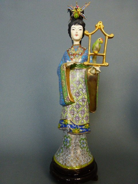 CHINESE CLOISONE AND POLYCHROMED IVORY GUAN YIN