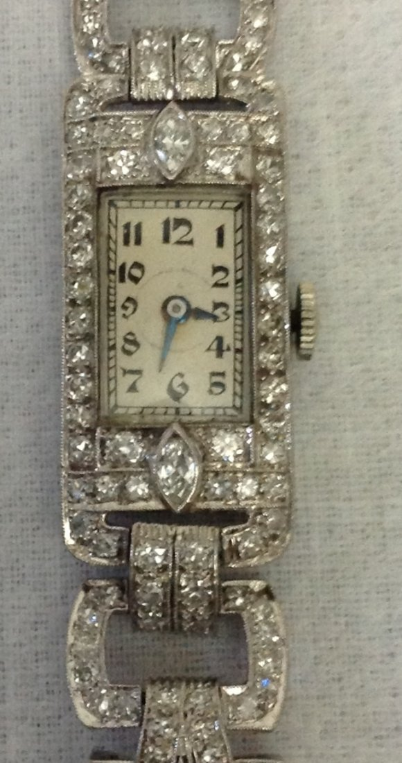 ART DECO HAMILTON PLATINUM AND DIAMOND WATCH