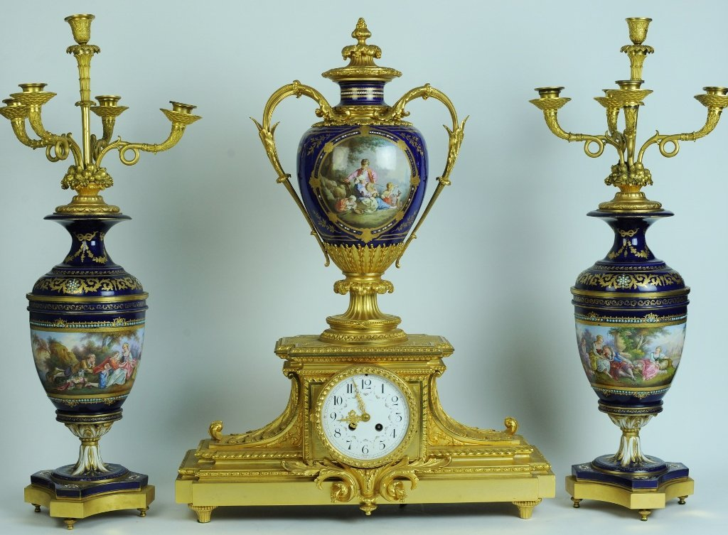 MAGNIFICENT 19TH CENTURY JEWELED SEVRES CLOCK GARINTURE