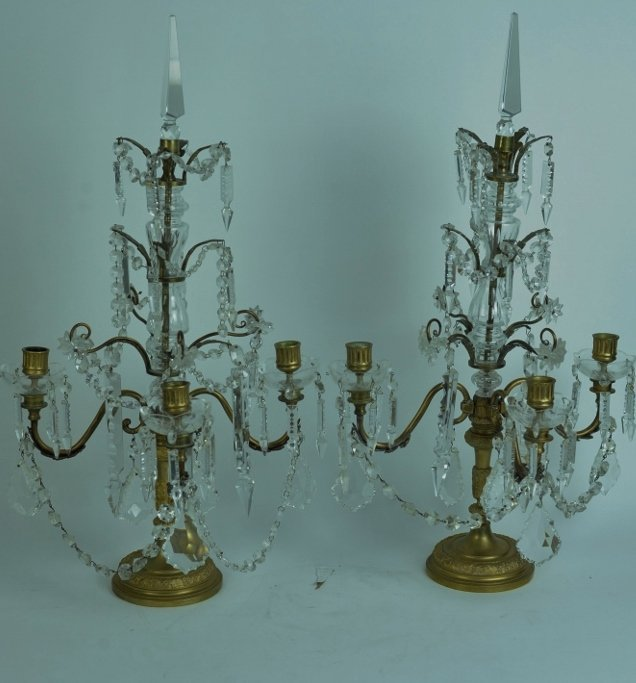 PAIR OF DORE BRONZE AND CRYSTAL GIRONDELS